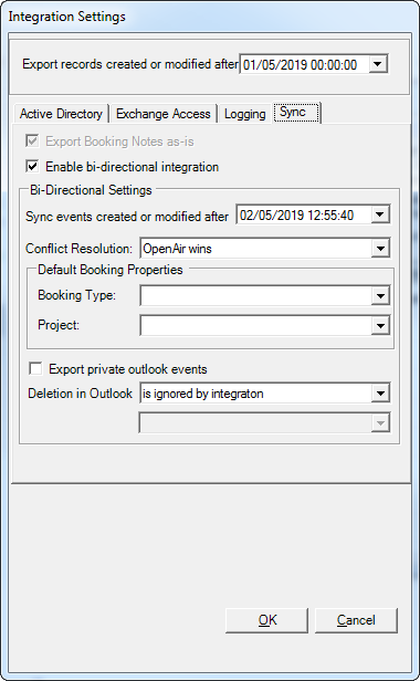 Exchange Manager Integration Settings