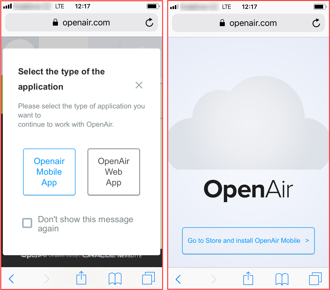 Prompts inviting users to switch to and to download OpenAir Mobile